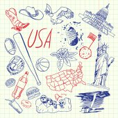 United States of America national symbol American cultural culinary sportive historical architectural animal scientific related doodle drawn on squared paper vector set Sketched with pen icons
