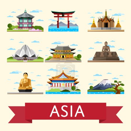 Asian travel set with famous
