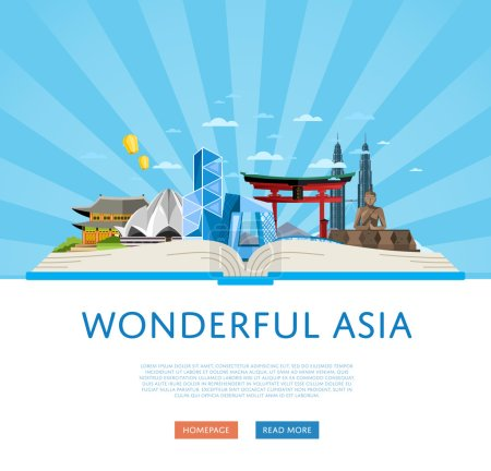 Wonderful asia poster with famous attractions.