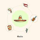 Attractive Mexico Sombrero colored doodle surrounded guitar chilli peppers toucan poncho cactus hand drawn vector icons Mexican cultural culinary nature symbols Travel in Latin America