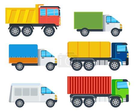 Illustration pour Camions modèles de dessin animé. Camion, congélateur, benne basculante, camion-citerne, camion minier, porte-conteneurs, illustrations vectorielles de chariots isolés sur blanc. Véhicules pour le transport de marchandises. Pour la publicité des entreprises de transport - image libre de droit