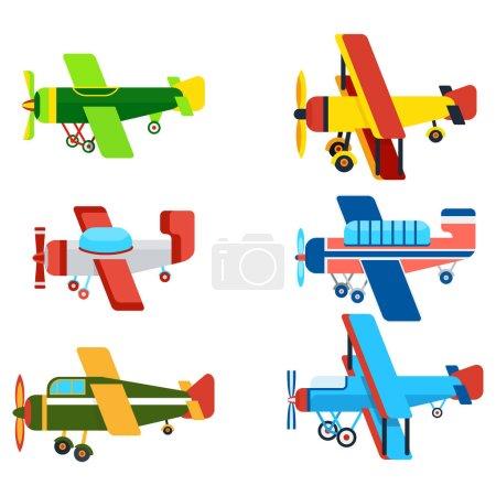 Illustration pour Avions anciens modèles de dessin animé. Avion à moteur rétro avec icône d'hélice. Illustrations vectorielles monoplan et biplan colorées isolées sur fond blanc . - image libre de droit