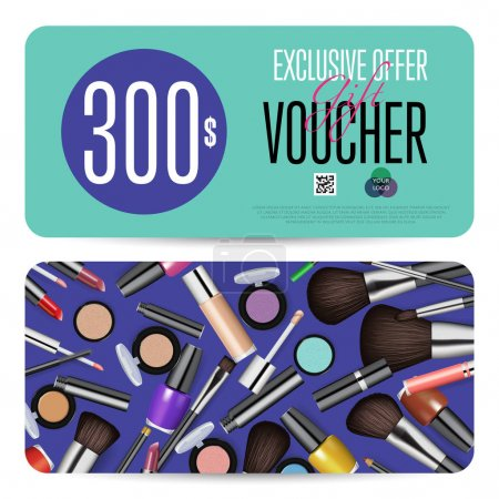 Cosmetics Gift Vouchers with Prepaid Sum Template