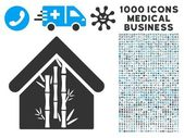 Bamboo House Icon with 1000 Medical Business Pictograms