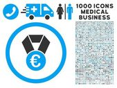 Euro Champion Medal Icon with 1000 Medical Business Pictograms