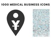 Yuan Map Marker icon with 1000 medical commerce gray and blue vector pictograms Clipart style is flat bicolor symbols white background