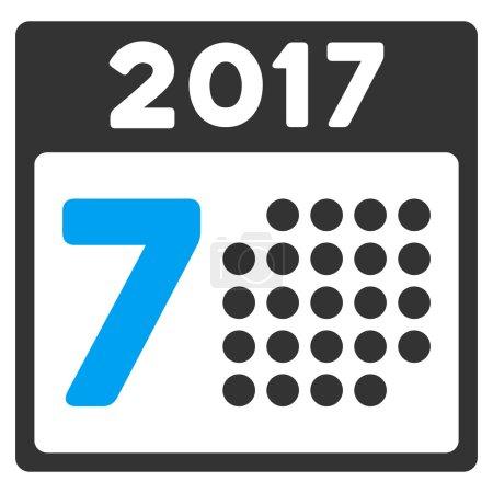 2017 Week Calendar Flat Vector Icon
