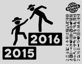 2016 Business Training icon with bonus calendar and time management clip art Vector illustration style is flat iconic symbols black color light gray background