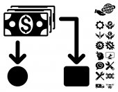 Cashflow pictograph with bonus tools clip art Vector illustration style is flat iconic symbols black color white background