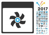 Fan Calendar Page icon with bonus calendar and time management clip art Vector illustration style is flat iconic symbols blue and gray colors white background