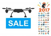 Drone Sale pictograph with bonus 2017 new year clip art Vector illustration style is flat iconic symbols blue and gray colors white background