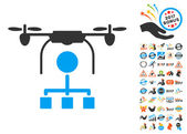 Drone Distribution Icon With 2017 Year Bonus Pictograms