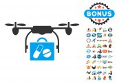 Airdrone Pharmacy Delivery icon with bonus 2017 new year clip art Vector illustration style is flat iconic symbols blue and gray colors white background
