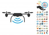 Radio Transmitter Airdrone pictograph with bonus 2017 new year clip art Vector illustration style is flat iconic symbols blue and gray colors white background