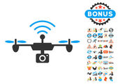 Radio Camera Airdrone pictograph with bonus 2017 new year clip art Vector illustration style is flat iconic symbols blue and gray colors white background