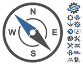 Compass pictograph with bonus options clip art Vector illustration style is flat iconic symbols cobalt and gray colors white background