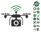 Radio Camera Drone icon with bonus settings clip art Vector illustration style is flat iconic symbols green and gray colors white background