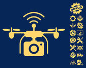 Radio Camera Drone pictograph with bonus tools clip art Vector illustration style is flat iconic symbols yellow color blue background