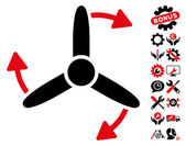 Three Bladed Screw Rotation icon with bonus configuration clip art Vector illustration style is flat iconic symbols intensive red and black colors white background