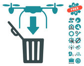 Drone Drop Trash icon with bonus settings clip art Vector illustration style is flat iconic symbols soft blue colors white background