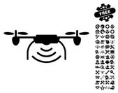 Radio Transmitter Airdrone pictograph with bonus setup tools clip art Vector illustration style is flat iconic symbols black color white background