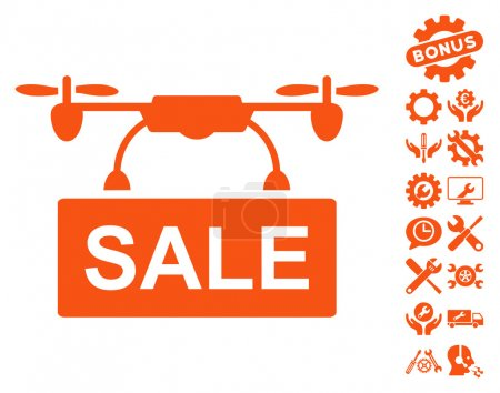 Drone Sale Vector Icon With Tools Bonus