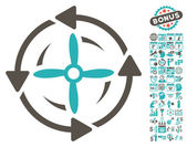 Screw Rotation icon with bonus calendar and time management clip art Vector illustration style is flat iconic symbols grey and cyan colors white background