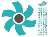 Rotor icon with bonus calendar and time management clip art Vector illustration style is flat iconic symbols grey and cyan colors white background