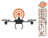 Wifi Repeater Drone pictograph with bonus calendar and time service clip art Vector illustration style is flat iconic symbols orange and gray colors white background