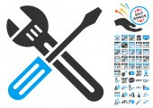 Spanner And Screwdriver Icon With 2017 Year Bonus Pictograms