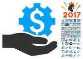 Industrial Gear Service Hand Icon With 2017 Year Bonus Pictograms