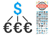 Dollar Euro Links icon with bonus 2017 new year graphic icons Vector illustration style is flat iconic symbolsmodern colors