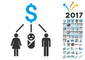 Family Budget Icon With 2017 Year Bonus Pictograms