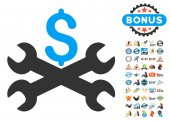 Service Price Icon With 2017 Year Bonus Symbols