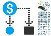 Cashflow Scheme pictograph with bonus 2017 new year design elements Vector illustration style is flat iconic symbolsmodern colors
