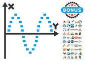 Dotted Sinusoid Plot Icon With 2017 Year Bonus Symbols