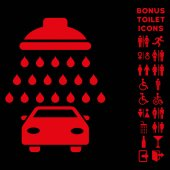 Car Shower icon and bonus man and female toilet symbols Vector illustration style is flat iconic symbols red color black background