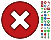 Cancel interface pictogram with bright toolbar icon clip art Vector pictograph style is flat symbols with contour edges