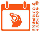 Brain Gears Calendar Day icon with bonus configuration clip art Vector illustration style is flat iconic symbols orange white background