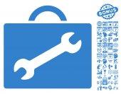 Repair Equipment Case icon with bonus calendar and time management symbols Vector illustration style is flat iconic symbols cobalt color white background