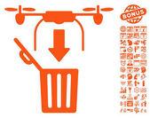 Drone Drop Trash pictograph with bonus calendar and time management clip art Vector illustration style is flat iconic symbols orange color white background