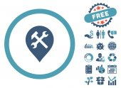 Workshop Map Marker pictograph with free bonus clip art Vector illustration style is flat iconic bicolor symbols cyan and blue colors white background