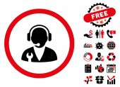 Support Manager icon with free bonus pictures Vector illustration style is flat iconic bicolor symbols intensive red and black colors white background