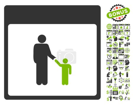 Father Calendar Page Flat Vector Icon With Bonus