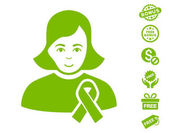Girl With Sympathy Ribbon icon with free bonus clip art Vector illustration style is flat iconic symbols eco green color white background