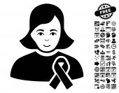 Girl With Sympathy Ribbon icon with bonus business time management and calendar clip art Vector illustration style is flat iconic symbols black color white background