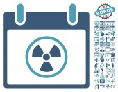 Radioactive Calendar Day icon with bonus calendar and time management clip art Vector illustration style is flat iconic symbols cyan and blue white background