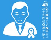 Gentleman With Mourning Ribbon icon with bonus flying drone tools clip art Vector illustration style is flat iconic white symbols on blue background