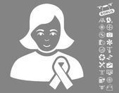Girl With Sympathy Ribbon icon with bonus airdrone service clip art Vector illustration style is flat iconic white symbols on gray background