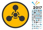 Wmd Nerve Agent Chemical Warfare icon with bonus 2017 new year clip art Vector illustration style is flat iconic symbolsmodern colors